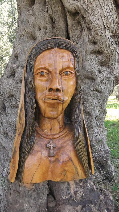 Our Lady Olive Wood Sculpture Sculpture