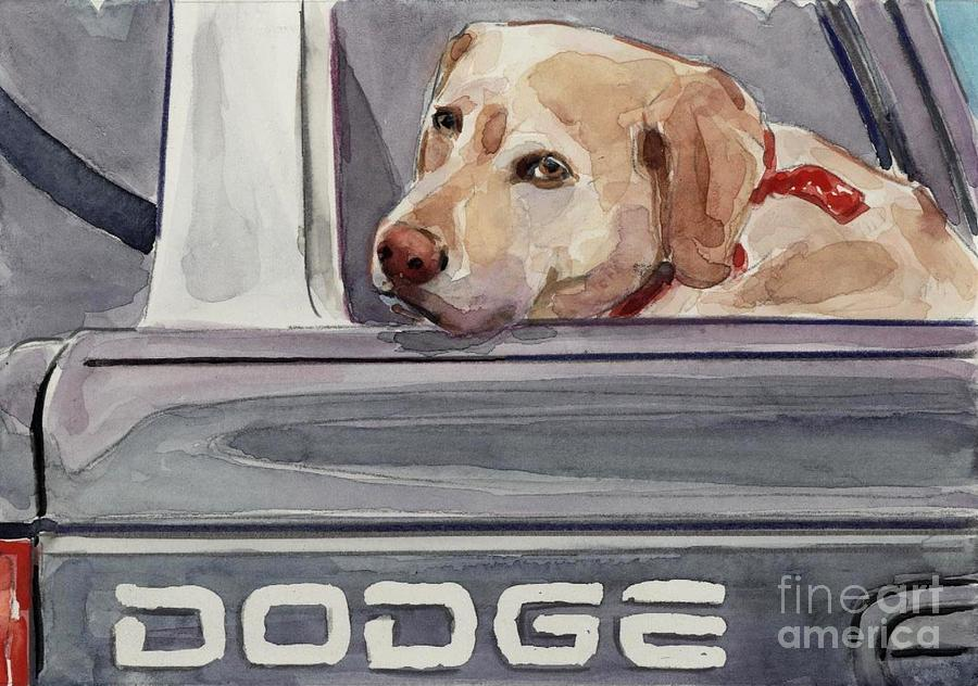 Yellow Dog Painting - Out Of Dodge by Molly Poole