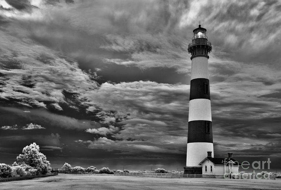 outer Banks - Stormy Day at Bodie Lighthouse BW Photograph