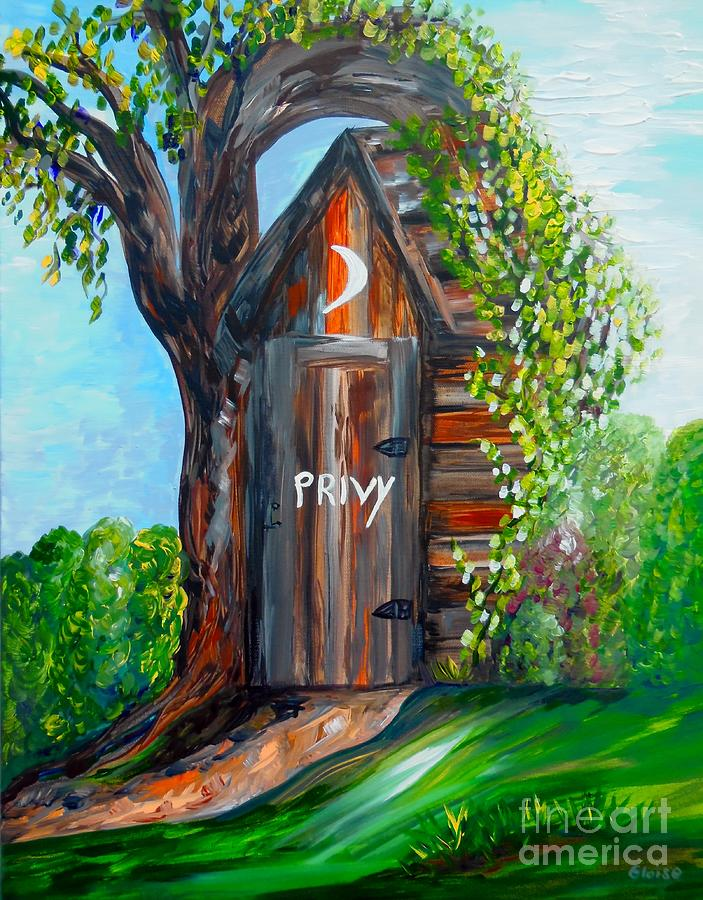 Out House Painting - Outhouse - Privy - The Old Out House by Eloise Schneider