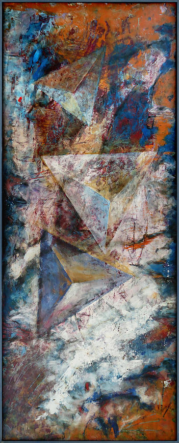 Abstract Painting - Over Pyramids by Florin Birjoveanu