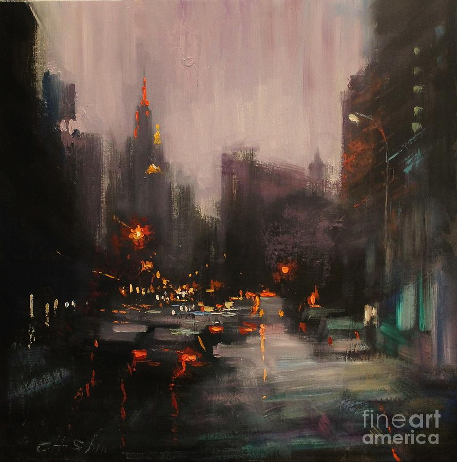 Overlooking Empire State Building Painting by Chin H Shin