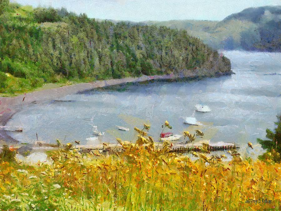 Overlooking The Harbor Painting  - Overlooking The Harbor Fine Art Print