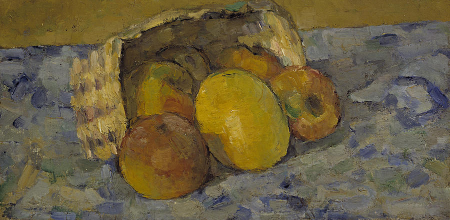cezannes fruit and basket Still life with basket, 1890 by paul cezanne, mature period post-impressionism  still life musée d'orsay, paris, france.