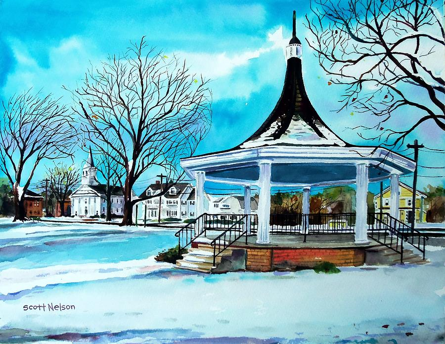 Oxford. Oxford Ma. Massachusetts Painting - Oxford Bandstand by Scott Nelson