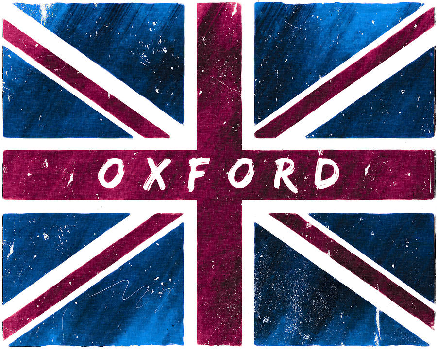 Oxford Distressed Union Jack Flag Digital Art  - Oxford Distressed Union Jack Flag Fine Art Print