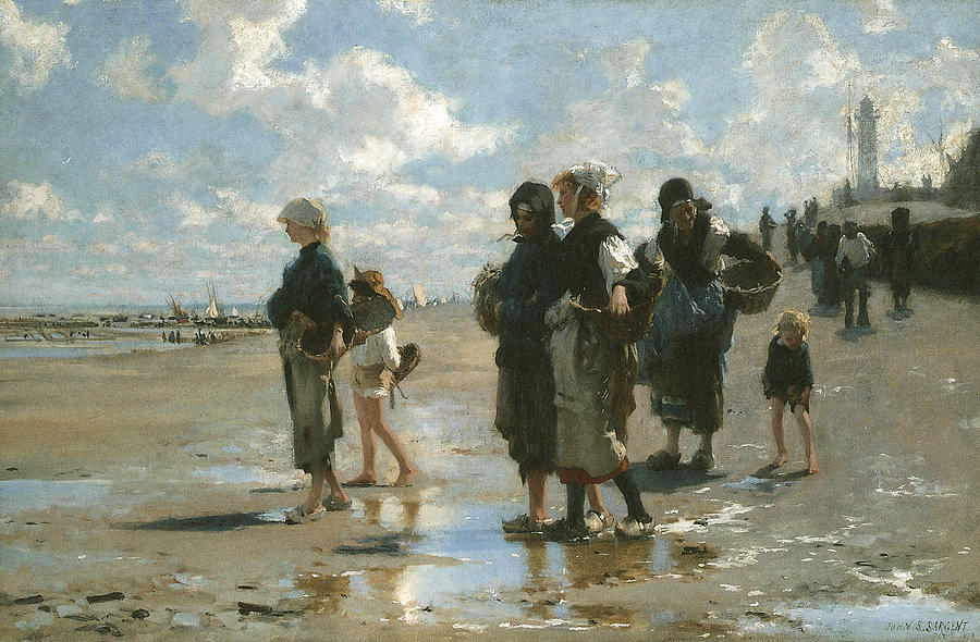 Oyster Gatherers At Cancale Painting  - Oyster Gatherers At Cancale Fine Art Print