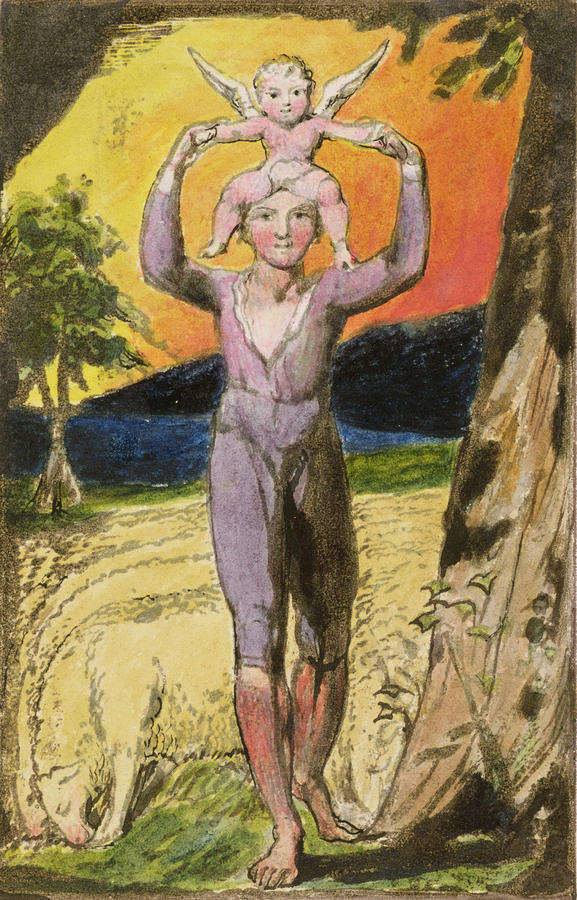 Shepherd Painting - P.124-1950.pt29 Frontispiece To Songs by William Blake