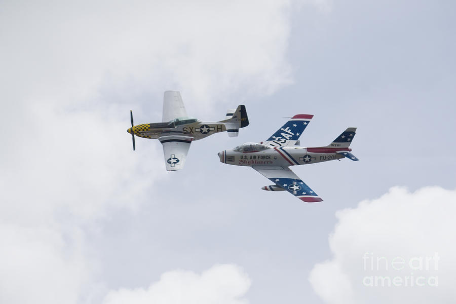 P51 And F86 Heritage Flight Photograph