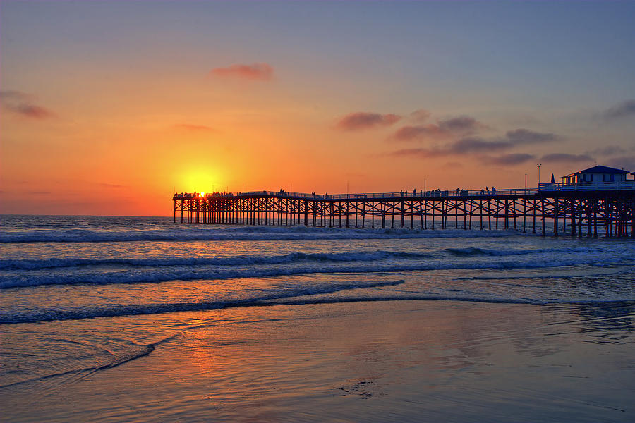 Pacific Beach Pier Sunset Photograph  - Pacific Beach Pier Sunset Fine Art Print