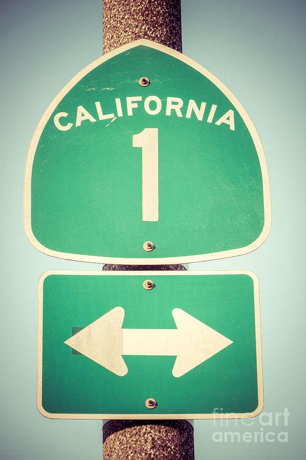 Pacific Coast Highway Sign California State Route 1 Photograph