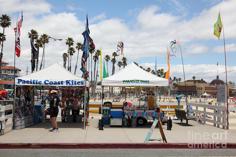 Pacific Coast Kites And Paradise Dogs On The Municipal Wharf At The Santa Cruz Beach Boardwalk Calif Photograph  - Pacific Coast Kites And Paradise Dogs On The Municipal Wharf At The Santa Cruz Beach Boardwalk Calif Fine Art Print