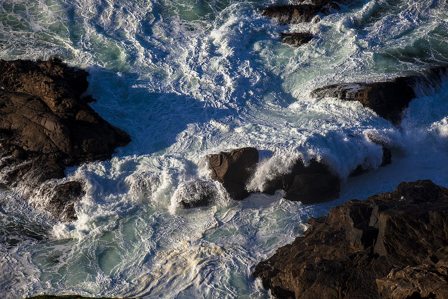 Pacific Ocean Against Rocks Photograph