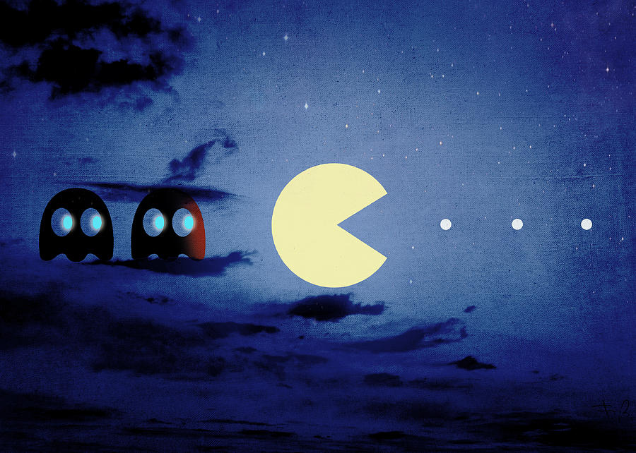 Pacman 2012 By Night Digital Art