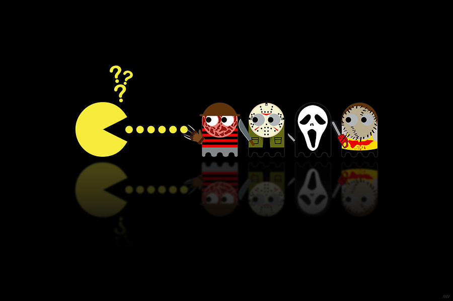 Pacman Horror Movie Heroes Digital Art  - Pacman Horror Movie Heroes Fine Art Print