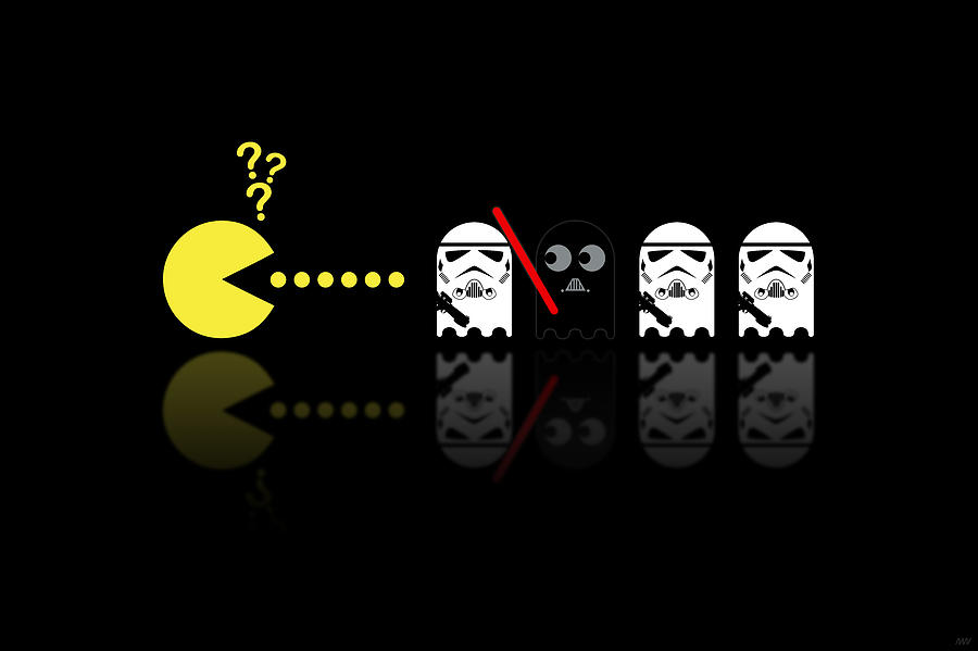 Pacman Star Wars - 1 Digital Art  - Pacman Star Wars - 1 Fine Art Print