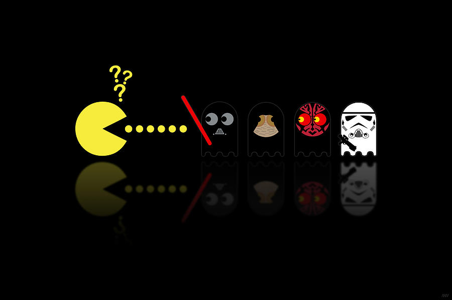 Pacman Star Wars - 2 Digital Art  - Pacman Star Wars - 2 Fine Art Print