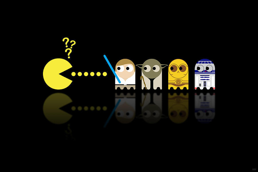 Pacman Star Wars - 3 Digital Art  - Pacman Star Wars - 3 Fine Art Print