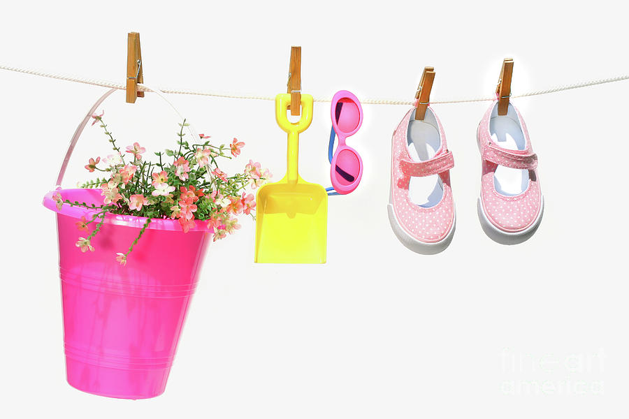 Pail And Shoes On White Photograph