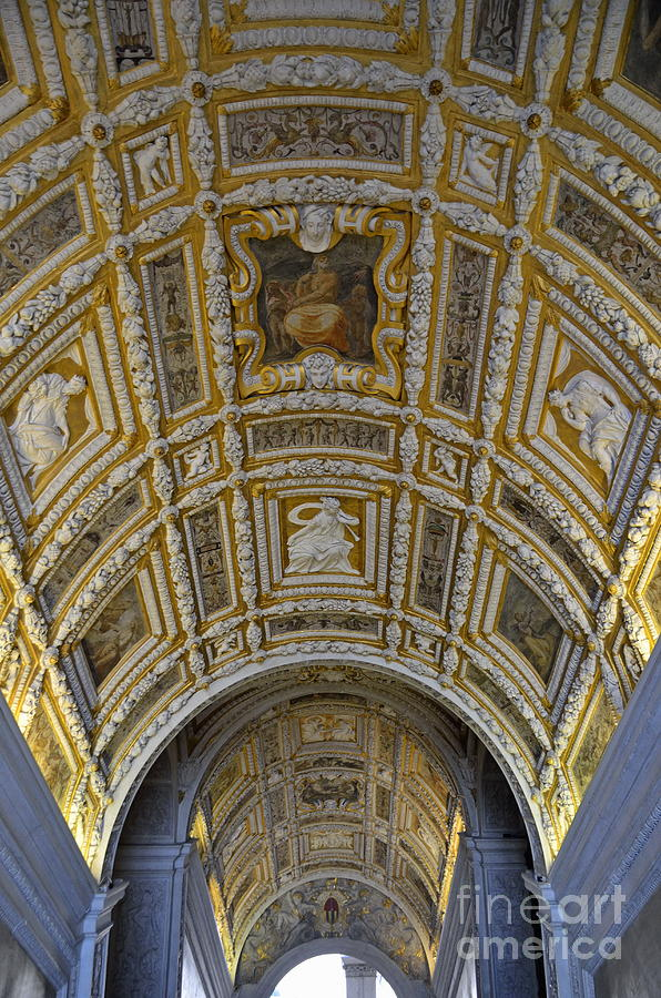 Painted Ceiling Of Staircase In Doges Palace Photograph