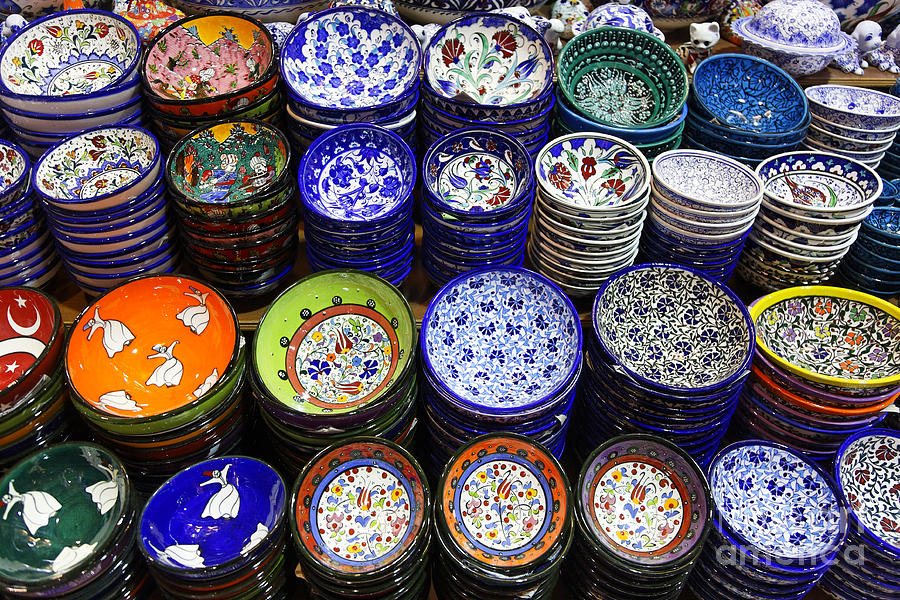Painted Ceramic Bowls In The Grand Bazaar Istanbul