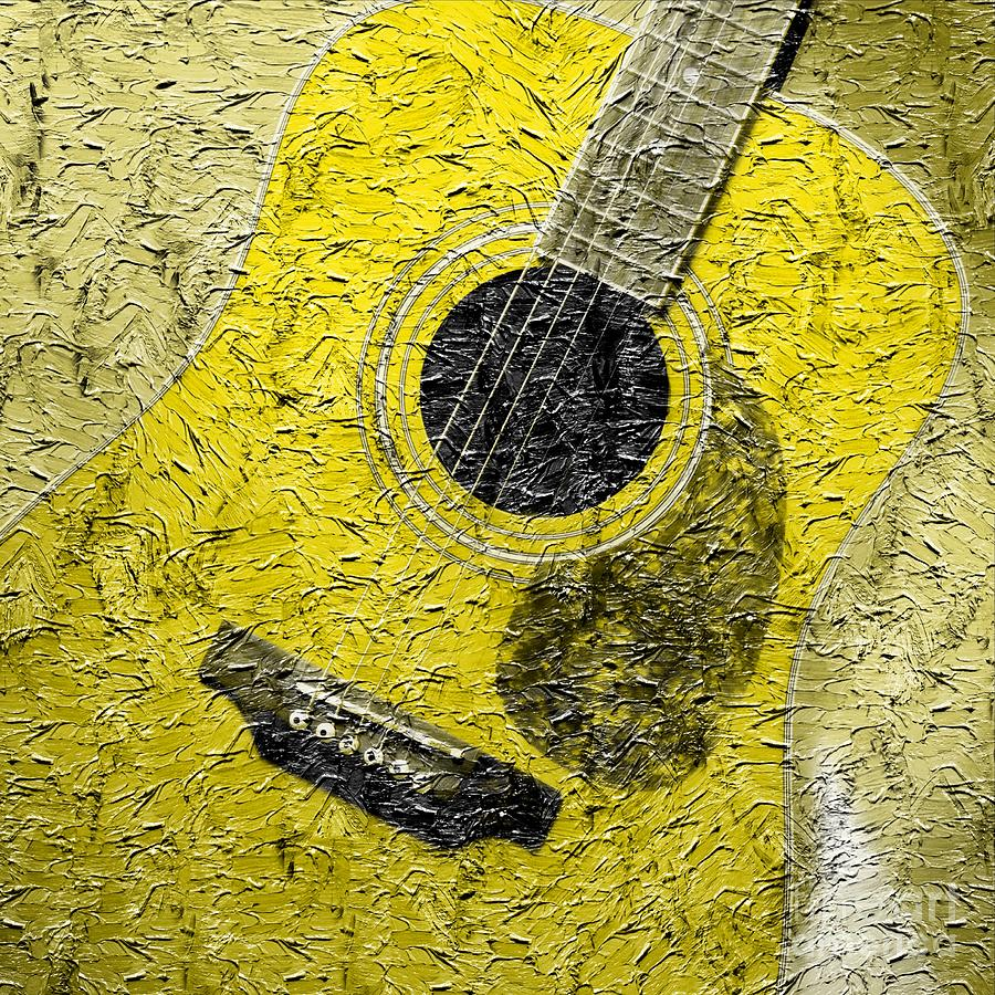 Painted Guitar - Music - Yellow Photograph  - Painted Guitar - Music - Yellow Fine Art Print