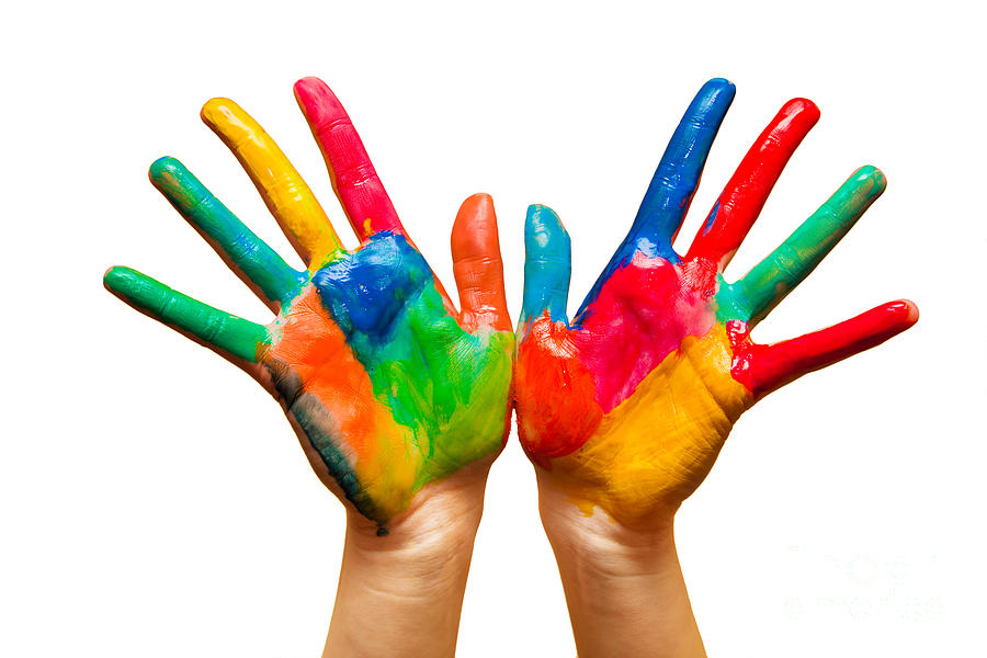 Painted Hands On White Photograph