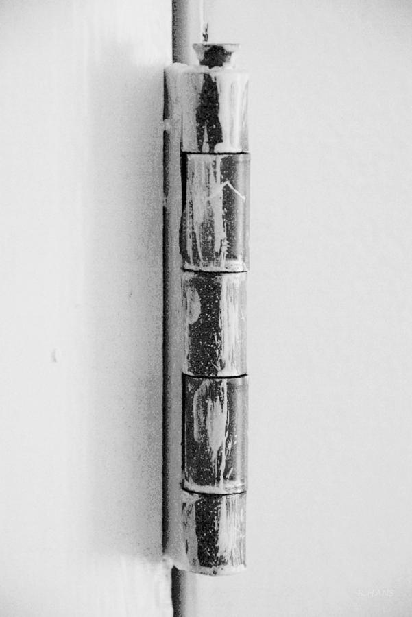 Painted Hinge In Black And White Photograph