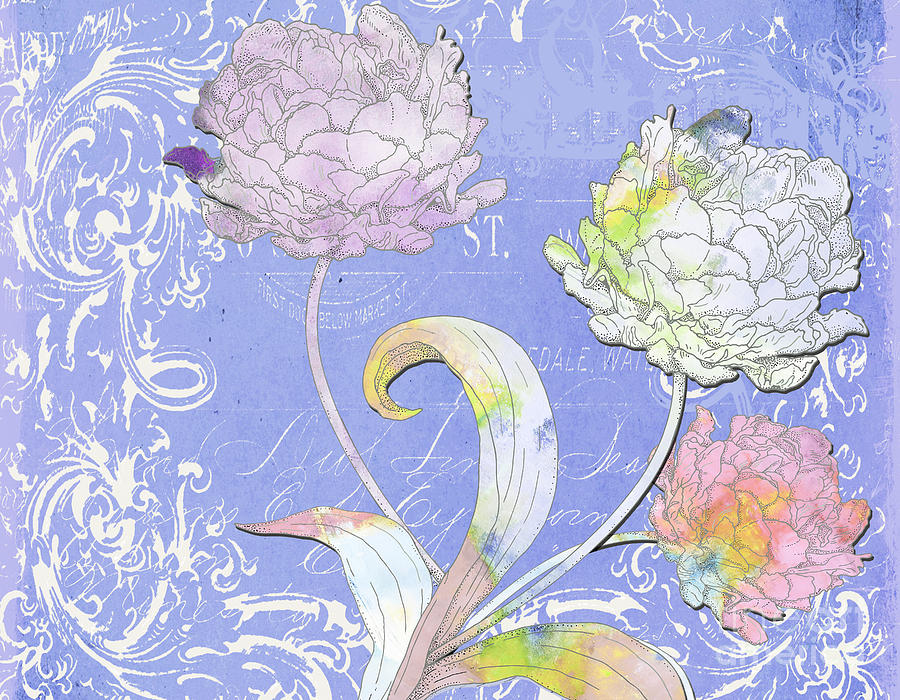 Painted Peonies On Lavander Scrolls Mixed Media  - Painted Peonies On Lavander Scrolls Fine Art Print