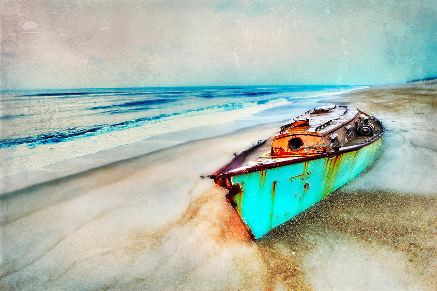 Painted Shipwreck On The Outer Banks II Painting  - Painted Shipwreck On The Outer Banks II Fine Art Print