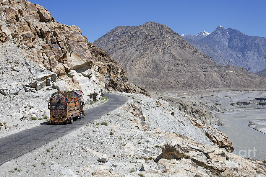 Painted Truck On The Karakorum Highway In Pakistan Photograph  - Painted Truck On The Karakorum Highway In Pakistan Fine Art Print
