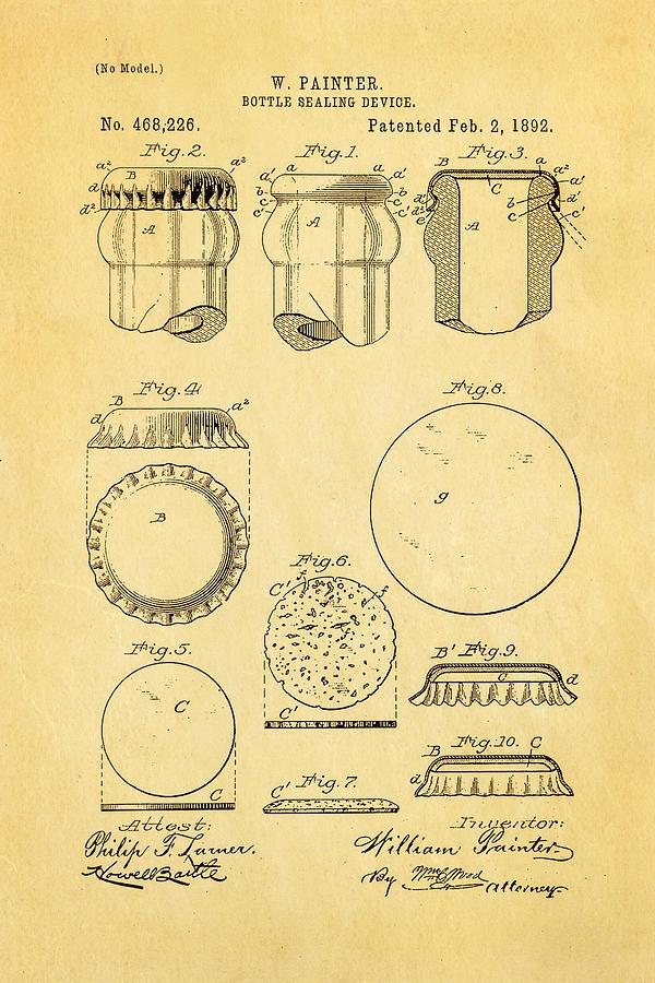 Painter Bottle Cap Patent Art 1892 Photograph
