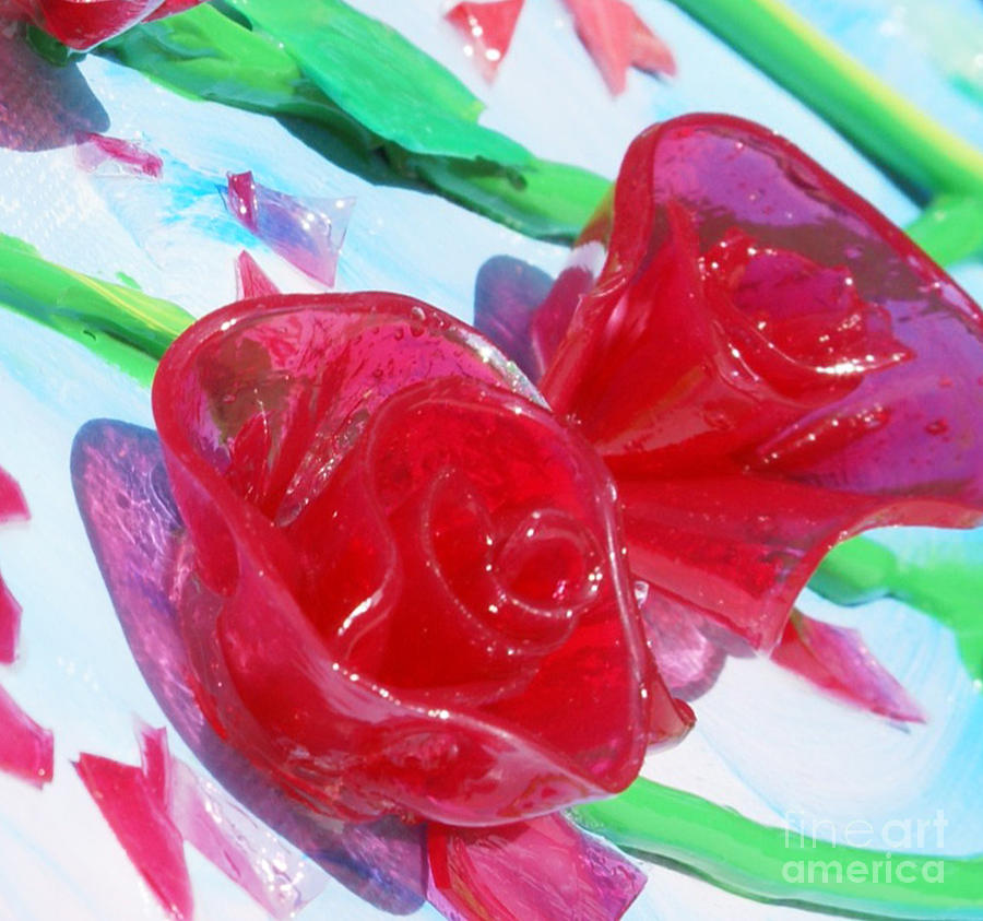 Painterly Stained Glass Looking Flowers Painting  - Painterly Stained Glass Looking Flowers Fine Art Print