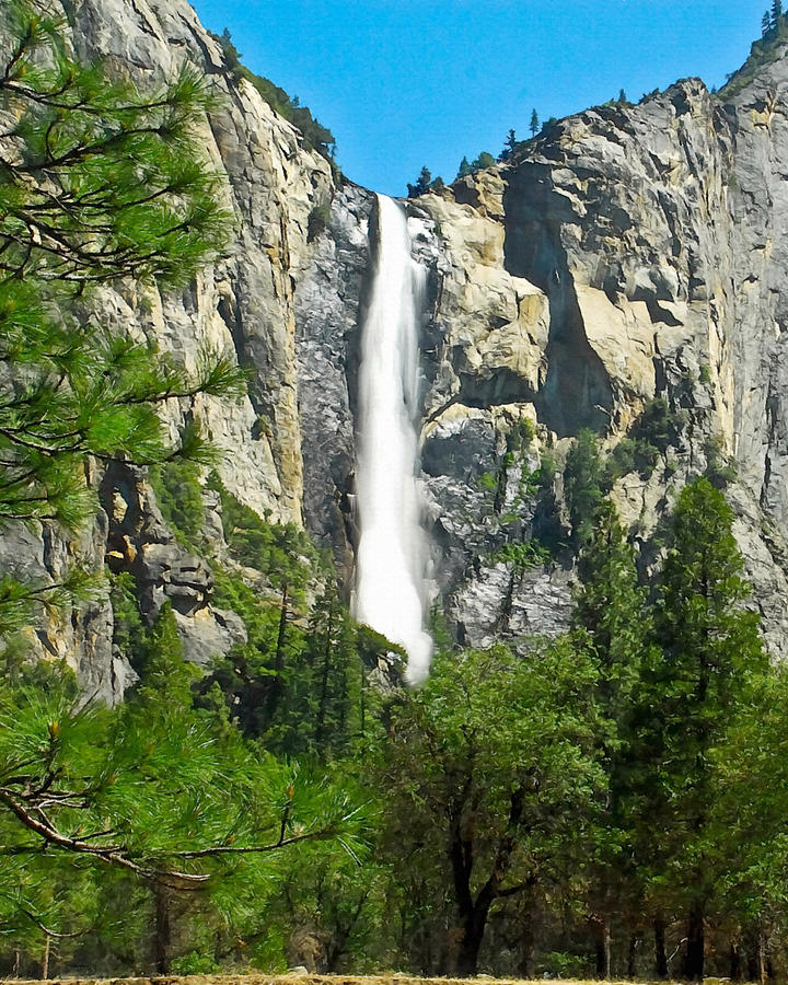Painting Of Bridalveil Falls Yosemite National Park Painting  - Painting Of Bridalveil Falls Yosemite National Park Fine Art Print