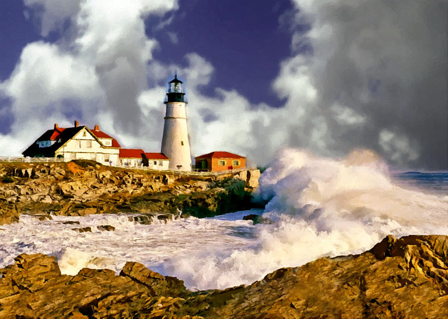 painting portland headlight maine painting by bob and