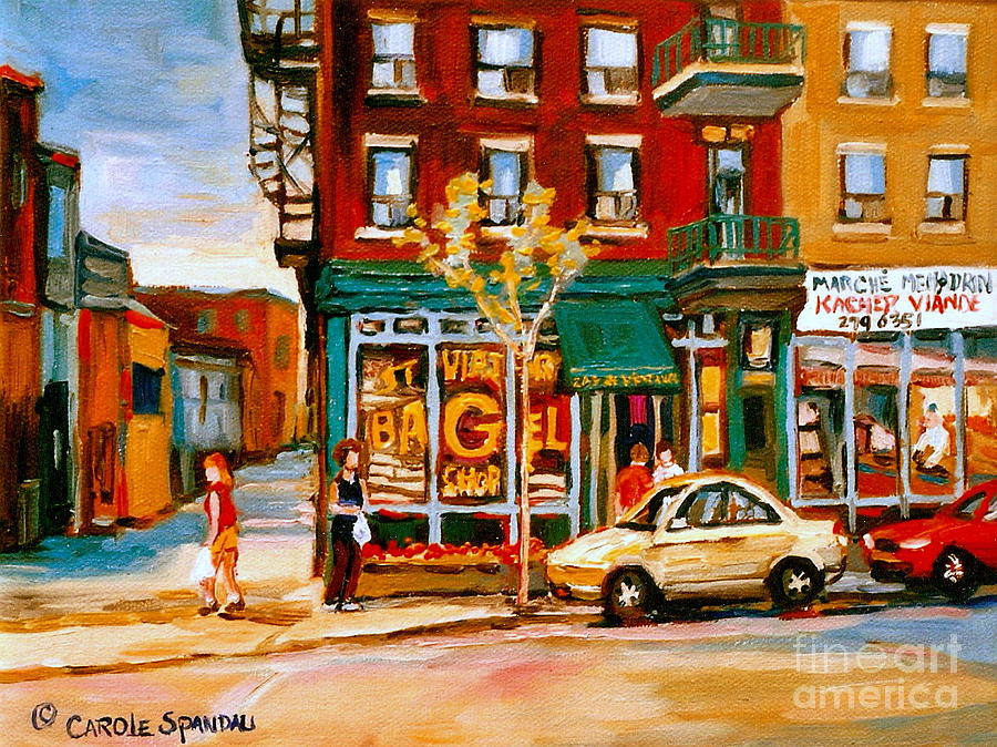 Paintings Of  Famous Montreal Places St. Viateur Bagel City Scene Painting  - Paintings Of  Famous Montreal Places St. Viateur Bagel City Scene Fine Art Print