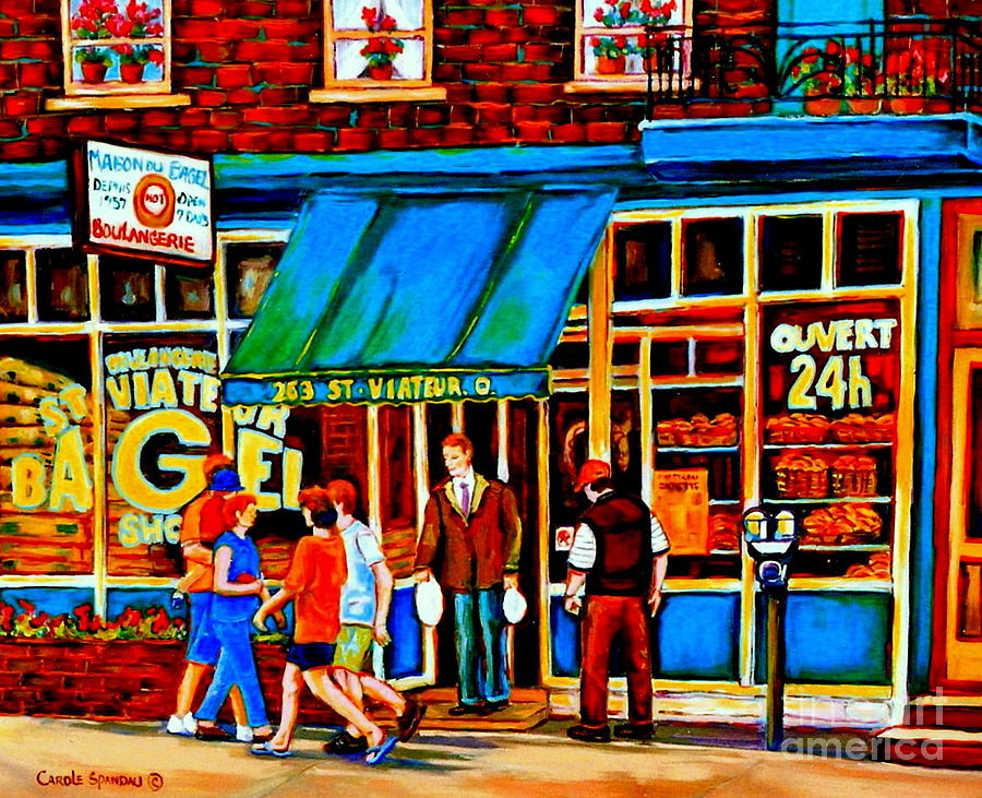 Paintings Of Montreal Memories Bagel And Bread Shop St. Viateur Boulangerie Depanneur City Scenes Painting  - Paintings Of Montreal Memories Bagel And Bread Shop St. Viateur Boulangerie Depanneur City Scenes Fine Art Print