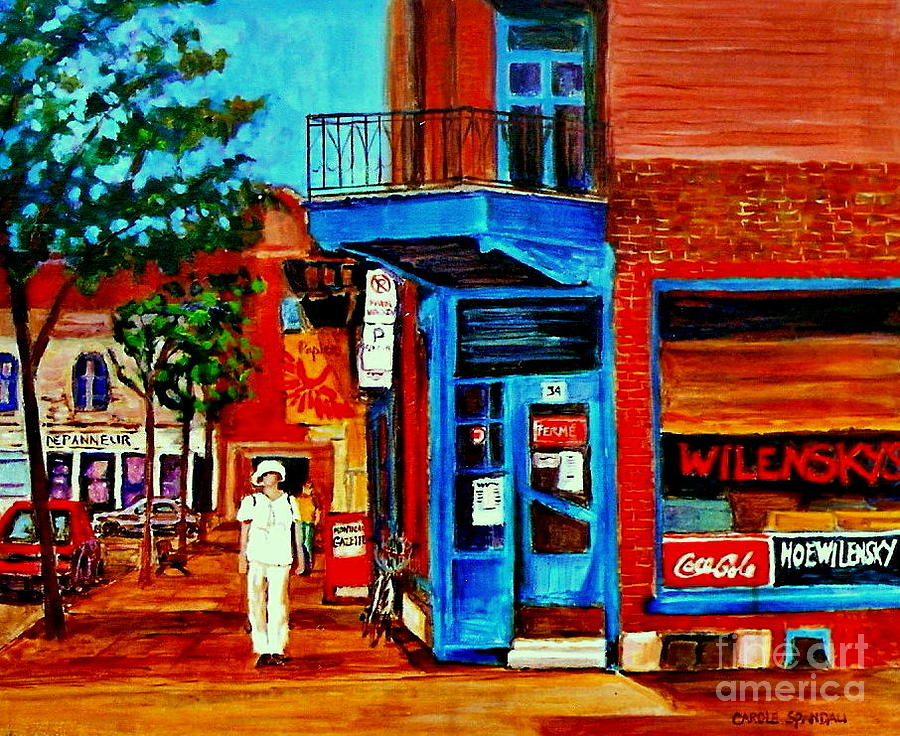 Paintings Of Montreal Memories Moe Wilenskys Famous Corner Deli  Montreal Spring City Scene Painting  - Paintings Of Montreal Memories Moe Wilenskys Famous Corner Deli  Montreal Spring City Scene Fine Art Print