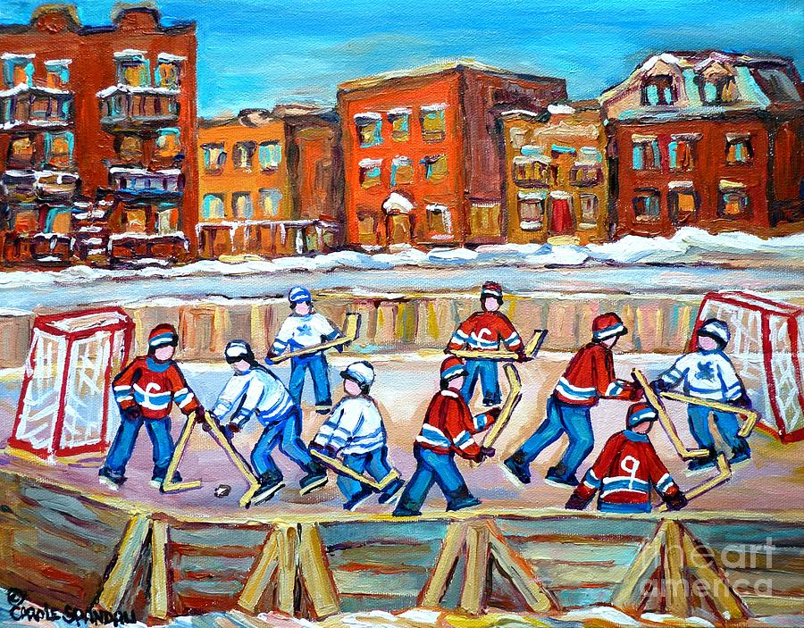 Paintings  Verdun Rink Hockey Montreal Memories Canadiens And Maple Leaf Hockey Game Carole Spandau Painting
