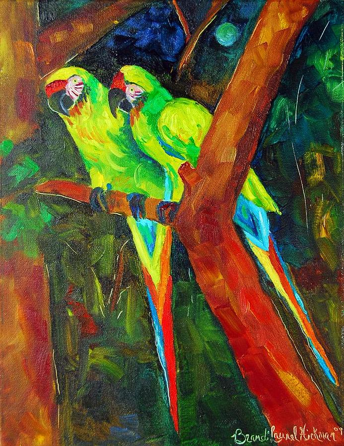 Paired Parrots Painting