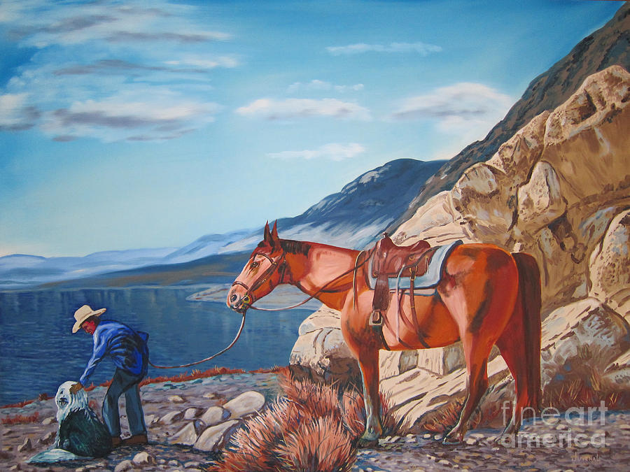 Paiute Boy At Walker Lake Painting  - Paiute Boy At Walker Lake Fine Art Print