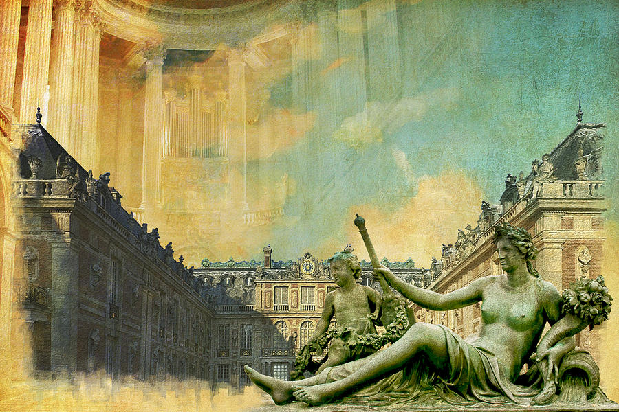 Palace And Park Of Versailles Unesco World Heritage Site Painting  - Palace And Park Of Versailles Unesco World Heritage Site Fine Art Print