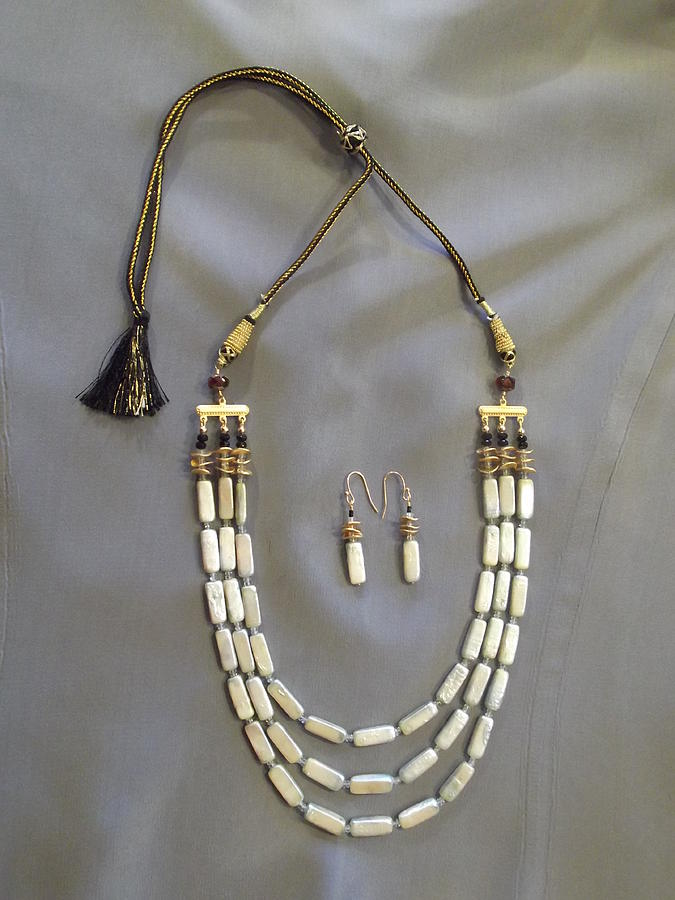 Pearls Jewelry - Pale Blue Pearl Necklace On Black Indian Cord by Jan Durand