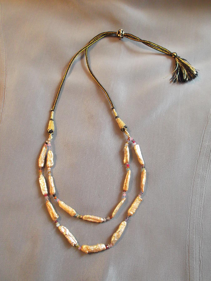 Pale Gold Pearl Necklace With Multi Gems On Indian Cord Jewelry