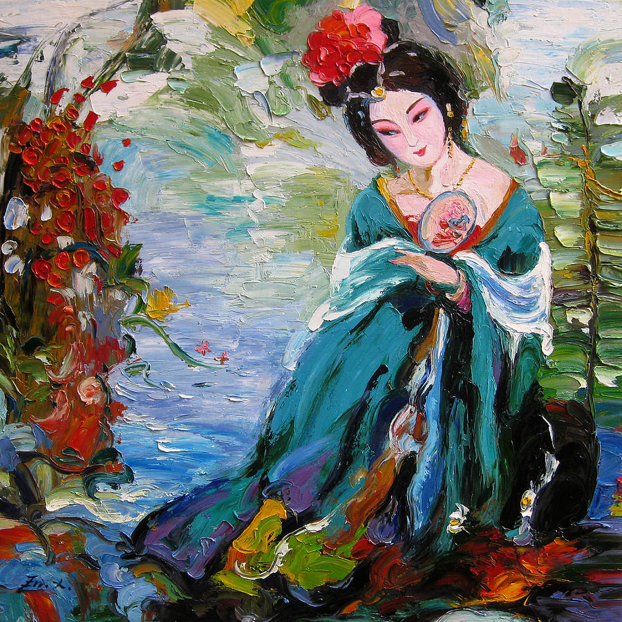 palette knife oil painting a woman of chinese opera