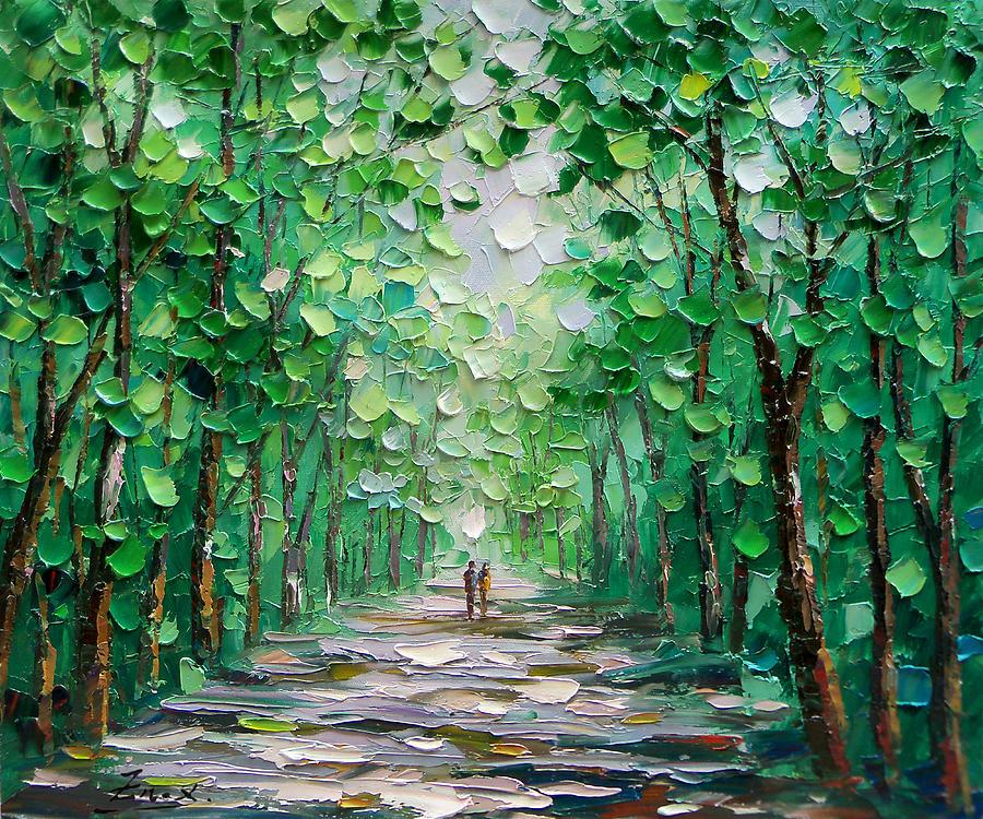 Palette Knife Oil Painting Forest Landscape Enxu Zhou