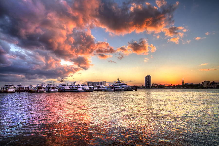 Palm Beach Harbor With West Palm Beach Skyline Photograph