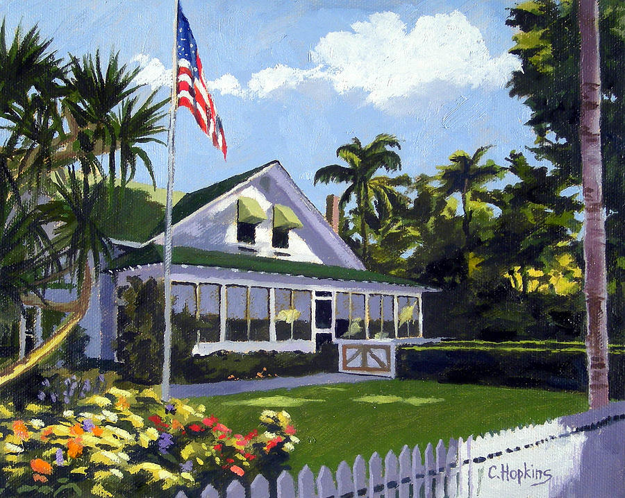 Palm Cottage Naples Florida Painting by Christine Hopkins