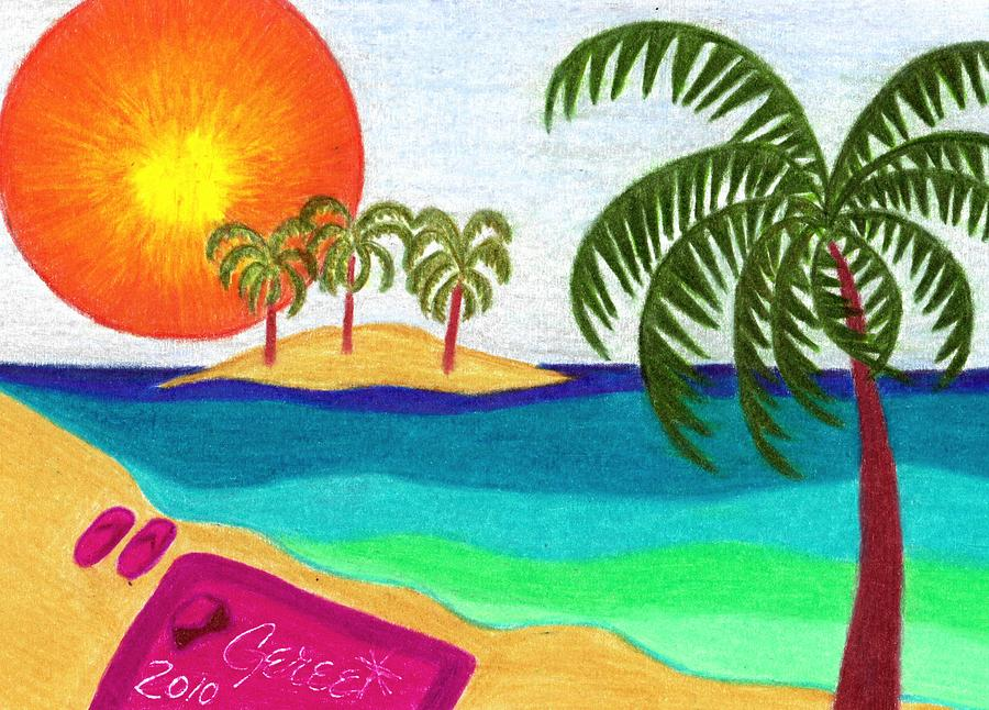 Palm Trees Across The Water Drawing