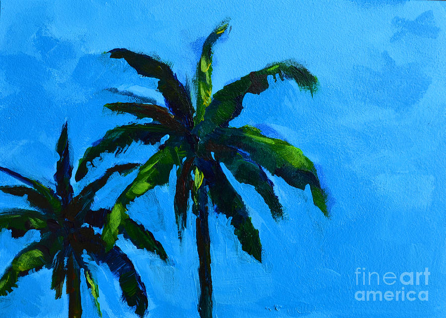 Palm Trees At Miami Beach Painting